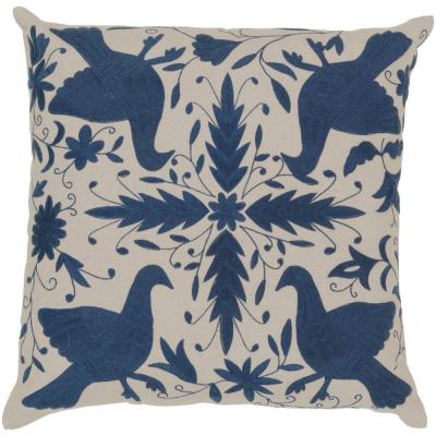Molfetta Navy Graphic Polyester 18 in. x 18 in. Throw Pillow