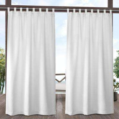 Indoor Outdoor Solid 54 in. W x 96 in. L Tab Top Curtain Panel in Winter White (2 Panels)