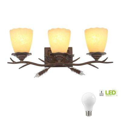 Lodge 3-Light Weathered Spruce Vanity Light with Sunset Glass Shades, Dimmable LED Daylight Bulbs Included