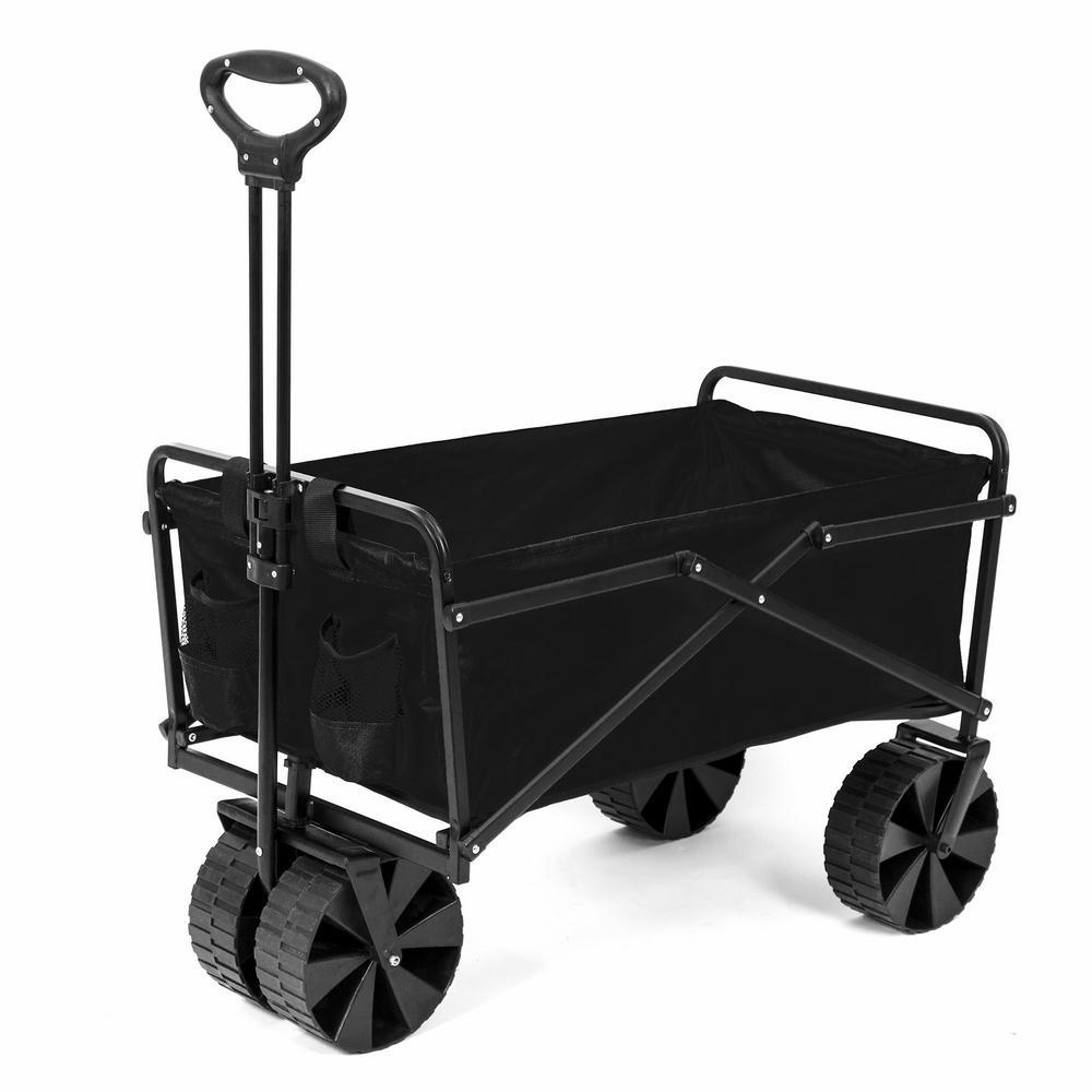 SEINA 150 lbs. Capacity Manual Folding Utility Beach Wagon Outdoor Cart in Black