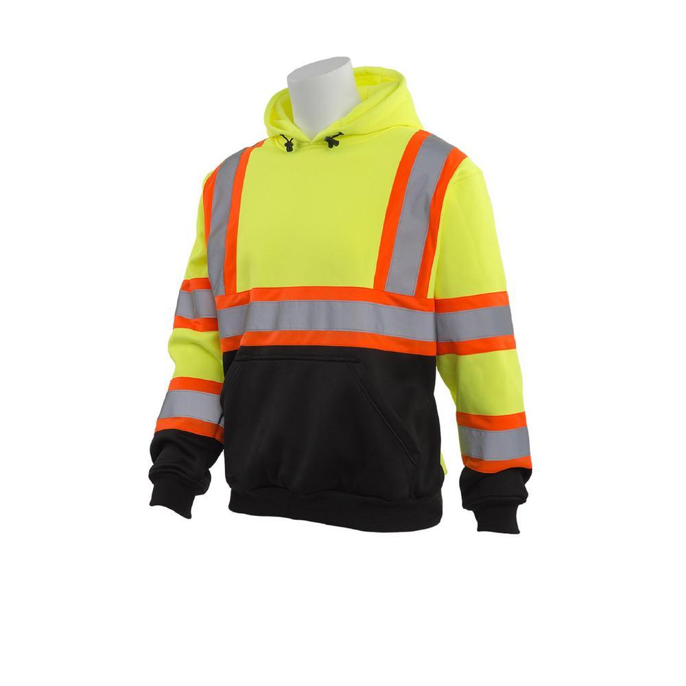 W376BC X-Large HVL/Black Bottom Polyester Safety Sweatshirt