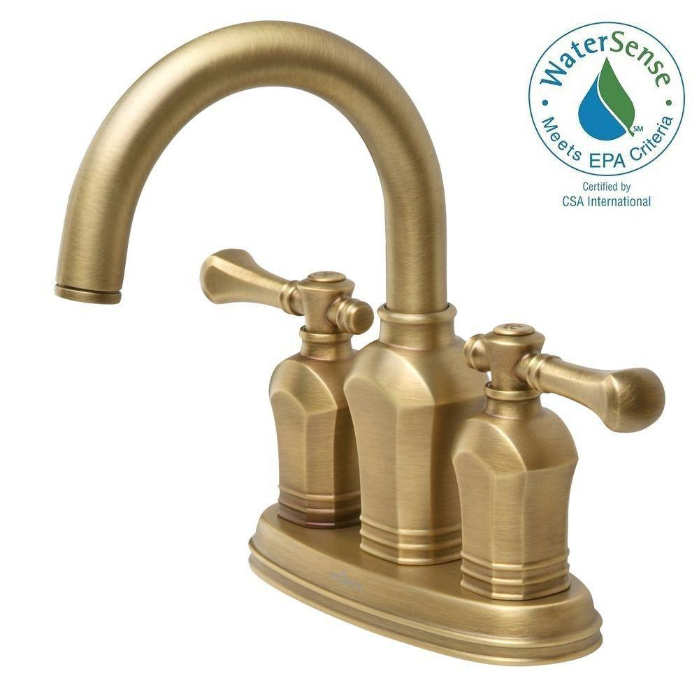 Pegasus verdanza 4 in centerset 2 handle bathroom faucet in antique brass 67113w 8024h the Antique brass faucet bathroom