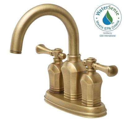 Verdanza 4 in. Centerset 2-Handle Bathroom Faucet in Antique Brass