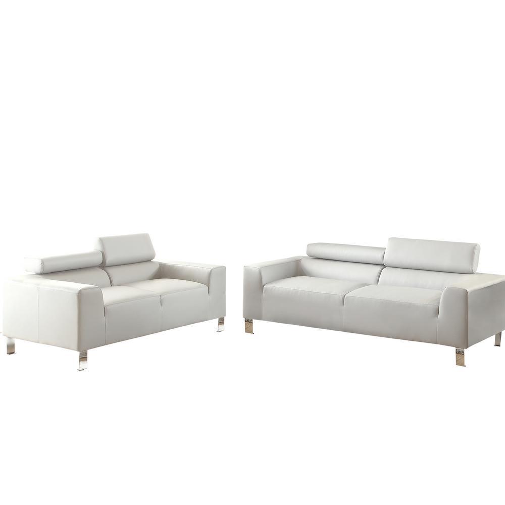 Venetian Worldwide Bari 2 Piece Gray Leatherette Sofa Set