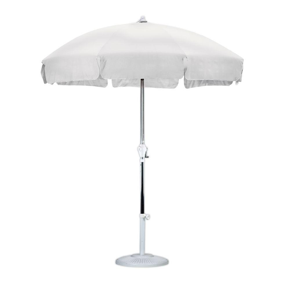 7-1/2 ft. Anodized Aluminum Push Tilt Patio Umbrella in White Olefin
