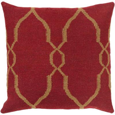 Belebey Red Geometric Polyester 22 in. x 22 in. Throw Pillow