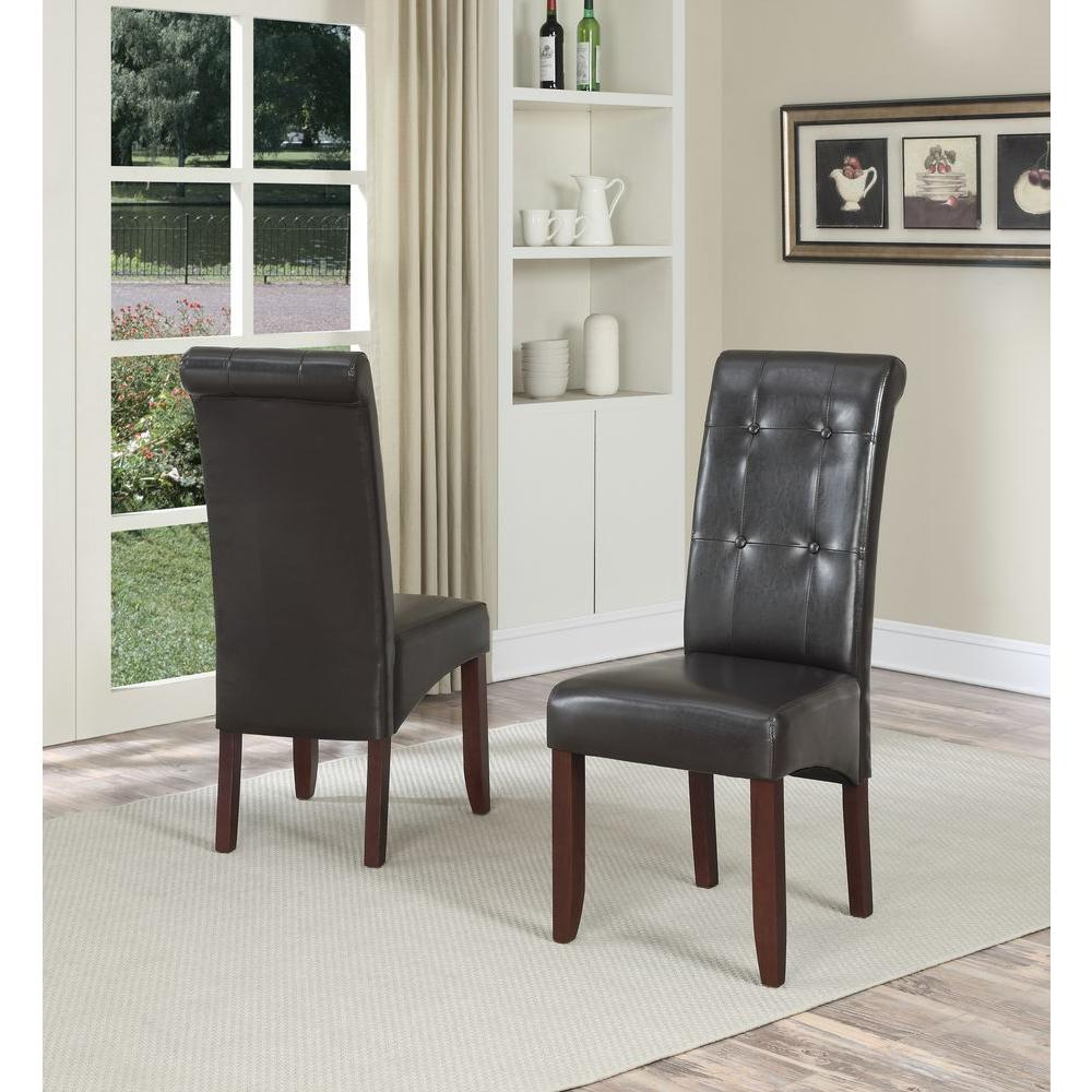 Simpli Home Cosmopolitan Satin Cream Faux Leather Parsons Dining Chair Set Of 2 Ws5109 4 Cr The Depot