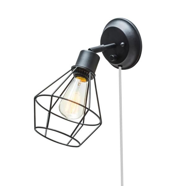 1-Light Black Shade Plug-in Wall Sconce with Clear 6 ft. Cord