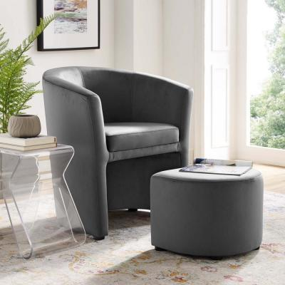 Divulge Performance Gray Velvet Arm Chair and Ottoman Set