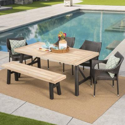 Coleman 6-Piece Wood and Wicker Outdoor Dining Set with Stacking Chairs and Bench