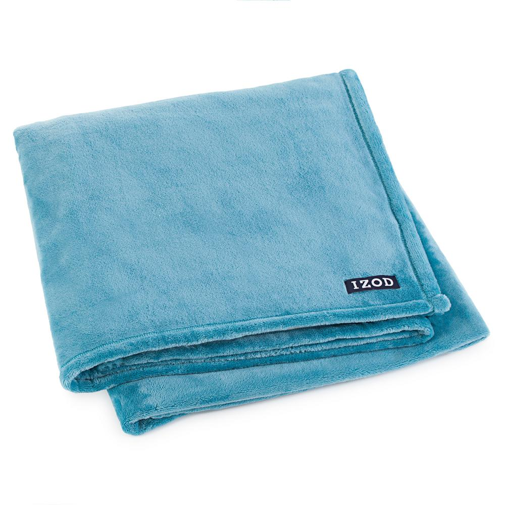 IZOD Larkspur Plush Green Polyester Throw-027399032764