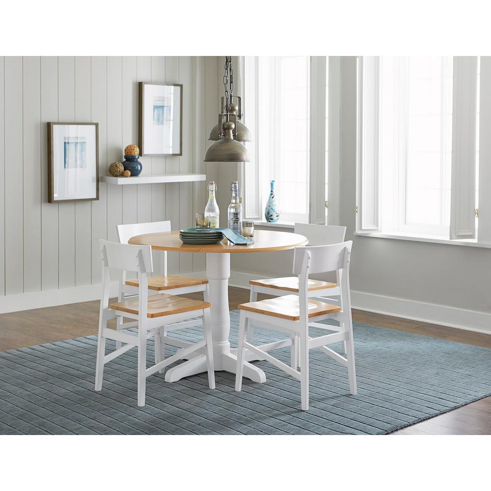 Christy Light Oak White Round Dining Table