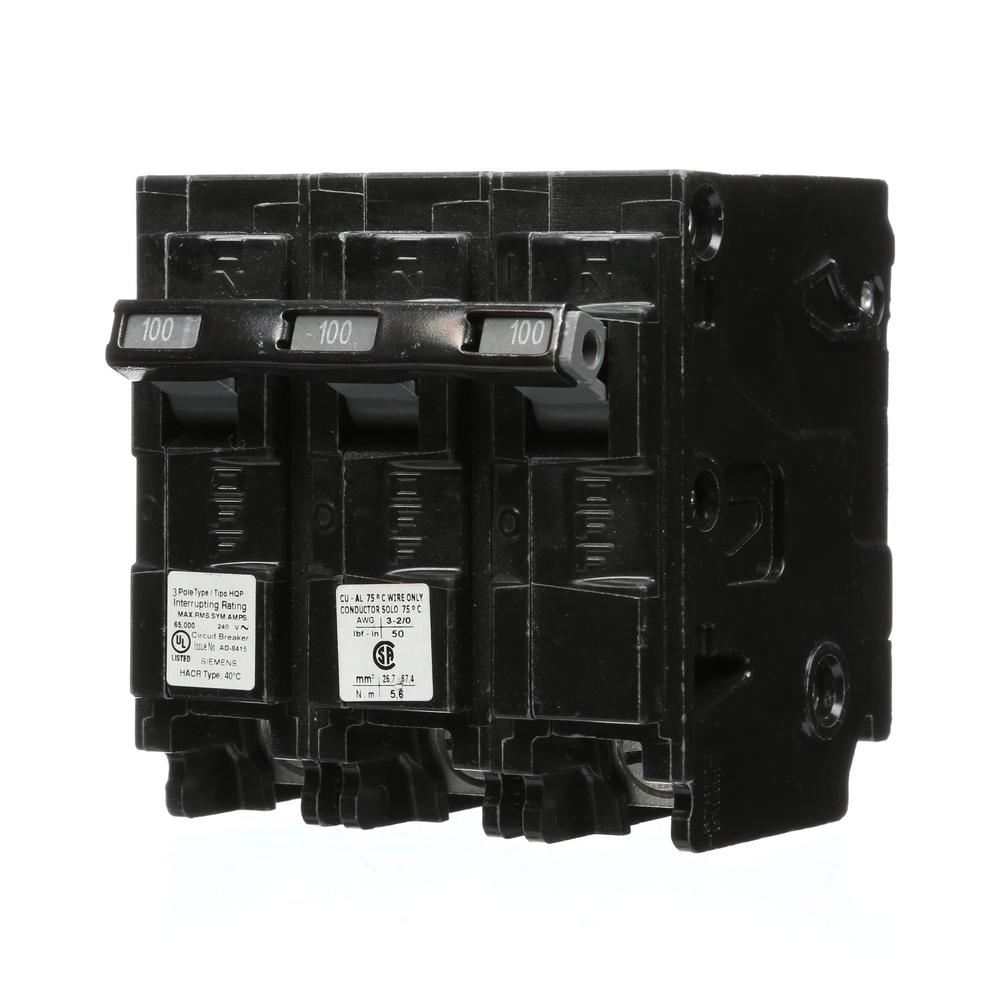 siemens 100 amp 3 pole type hqp 65ka circuit breaker q3100hh the home depot. Black Bedroom Furniture Sets. Home Design Ideas