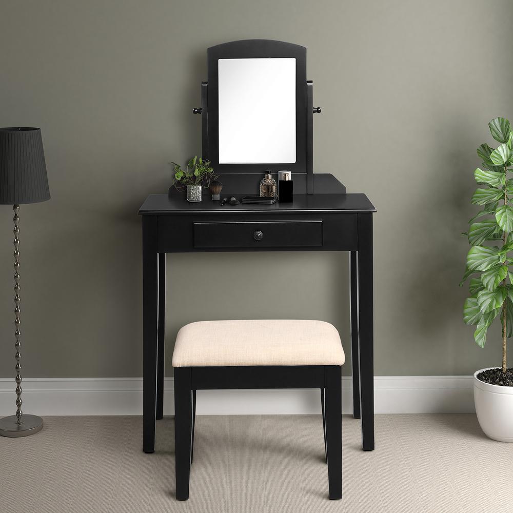 Harper & Bright Designs Black Vintage Black Vanity Set with ...