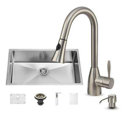 All-in-One Undermount Stainless Steel 32 in. Single Bowl Kitchen Sink in Stainless Steel