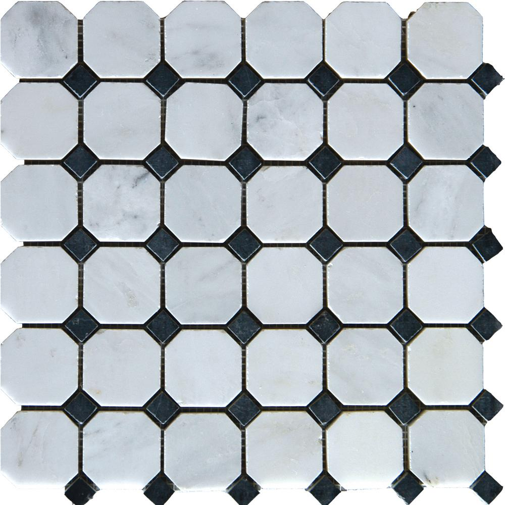 MS International Greecian White Octagon 12 in. x 12 in. x 10 mm Honed Marble Mesh-Mounted Mosaic Tile