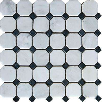 Greecian White Octagon 12 in. x 12 in. x 10mm Honed Marble Mesh-Mounted Mosaic Tile