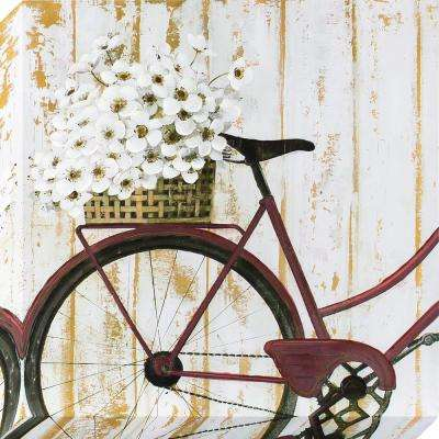 24 in. x 24 in. Vintage Bike with Flowers Stretched Painted Canvas Wall Art