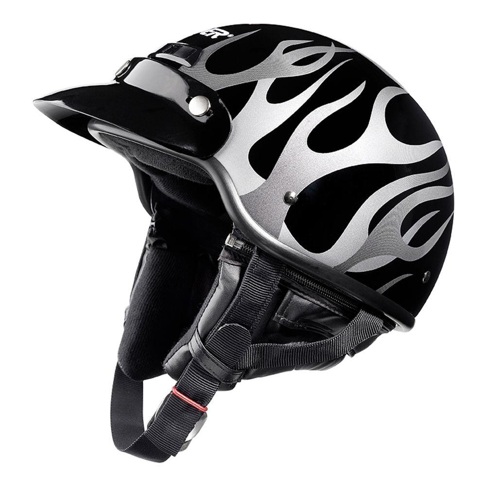 Raider Large Adult Deluxe Flat Black with Flame Half Helmet