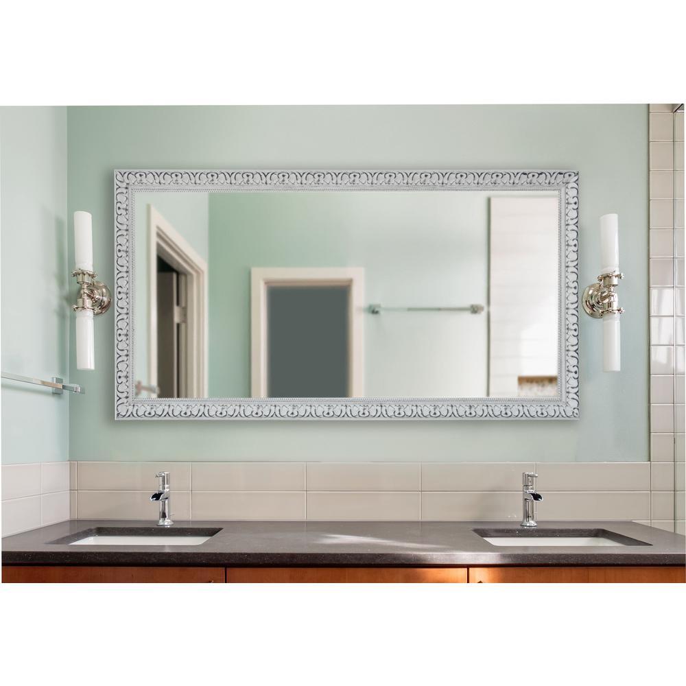 34 in. W x 67 in. H Framed Rectangular Bathroom Vanity Mirror in White