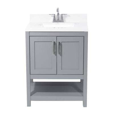 Tufino 25 in. Bath Vanity in Grey with Cultured Marble Vanity Top with Backsplash in Carrara White with White Basin