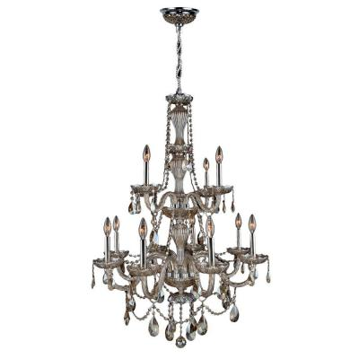 Provence Collection 12-Light Polished Chrome with Golden Teak Crystal Chandelier