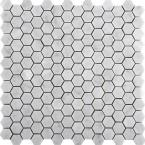Marble Bianco Gioia Honed 12.01 in. x 12.01 in. x 10 mm Marble Mesh-Mounted Mosaic Tile (1 sq. ft.)