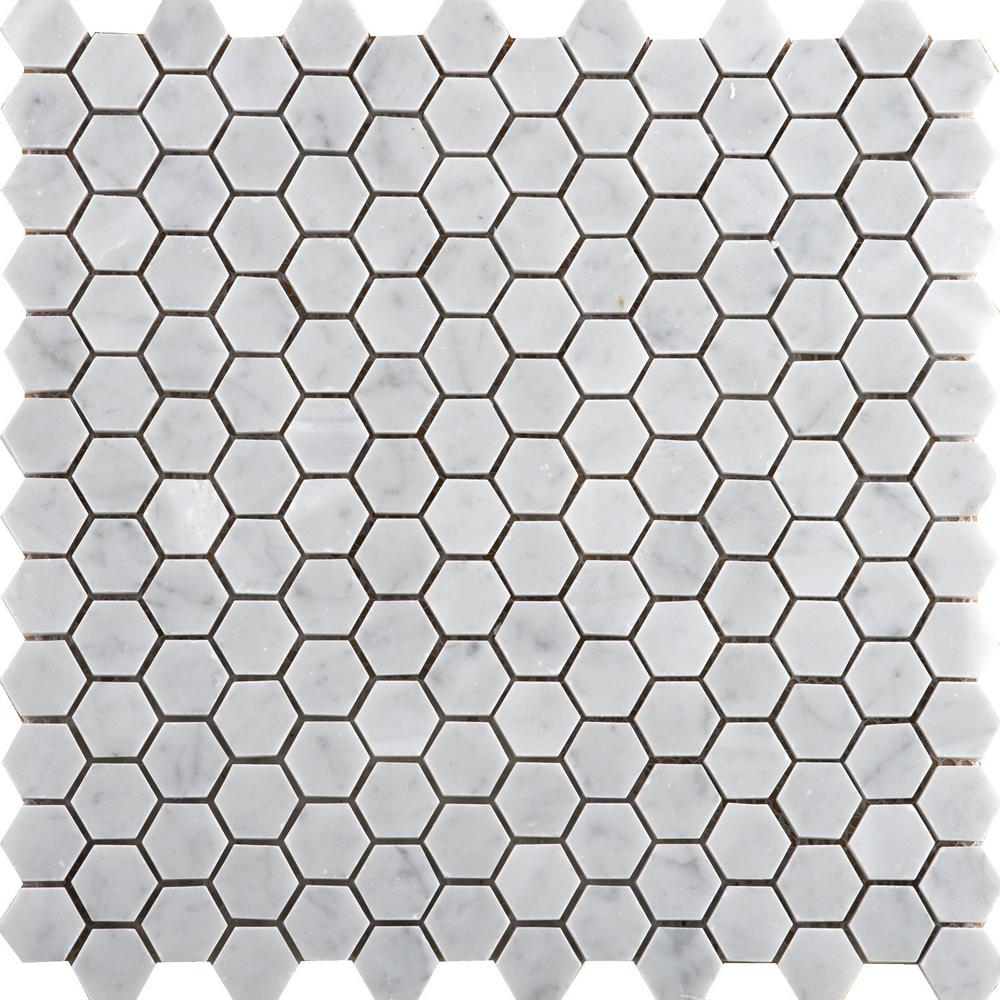 Emser Marble Bianco Gioia Honed 12.01 in. x 12.01 in. x 10 mm Marble Mesh-Mounted Mosaic Tile