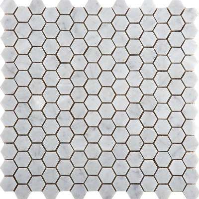 Marble Bianco Gioia Honed 12.01 in. x 12.01 in. x 10 mm Marble Mesh-Mounted Mosaic Tile