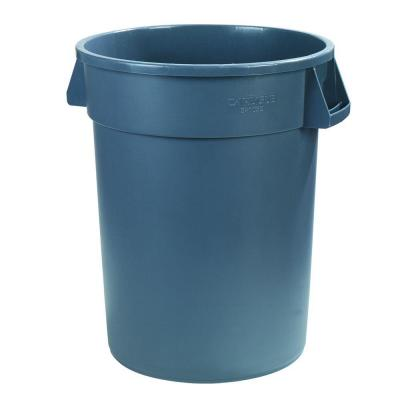Bronco 55 Gal. Gray Round Trash Can (2-Pack)