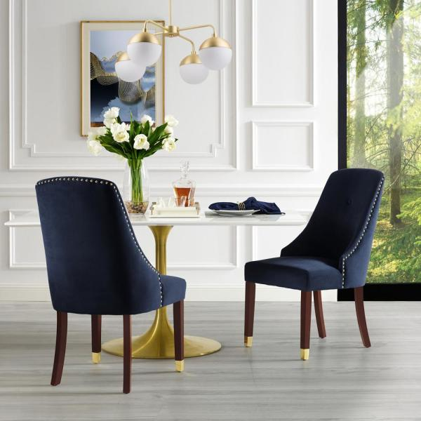 Cora Navy/Gold Velvet Metal Tip Leg Dining Chair (Set of 2)