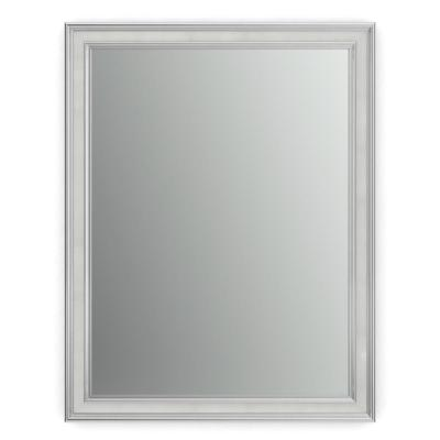 23 in. x 33 in. (S2) Rectangular Framed Mirror with Standard Glass and Flush Mount Hardware in Chrome and Linen