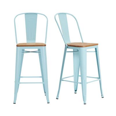Finwick Seafoam Blue Metal Bar Stool with Back and Wood Seat (Set of 2) (17.72 in. W x 43.9 in. H)