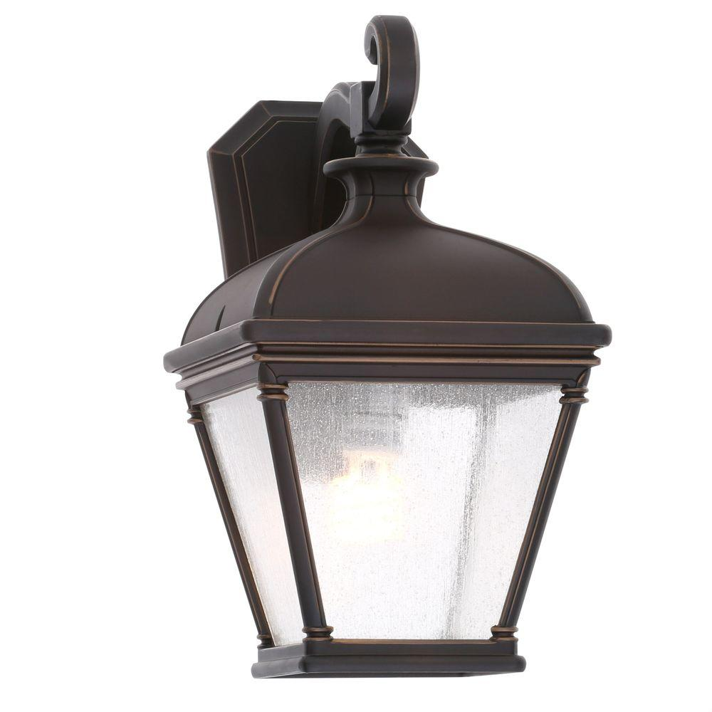 Hampton bay exterior wall lantern light lighting compare prices hampton bay malford dark rubbed bronze outdoor wall mount aloadofball Choice Image