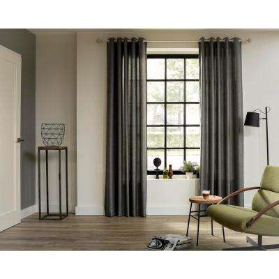 95 in. Intensions Curtain Rod Kit in Cloud with Bulb Finials and Open Brackets
