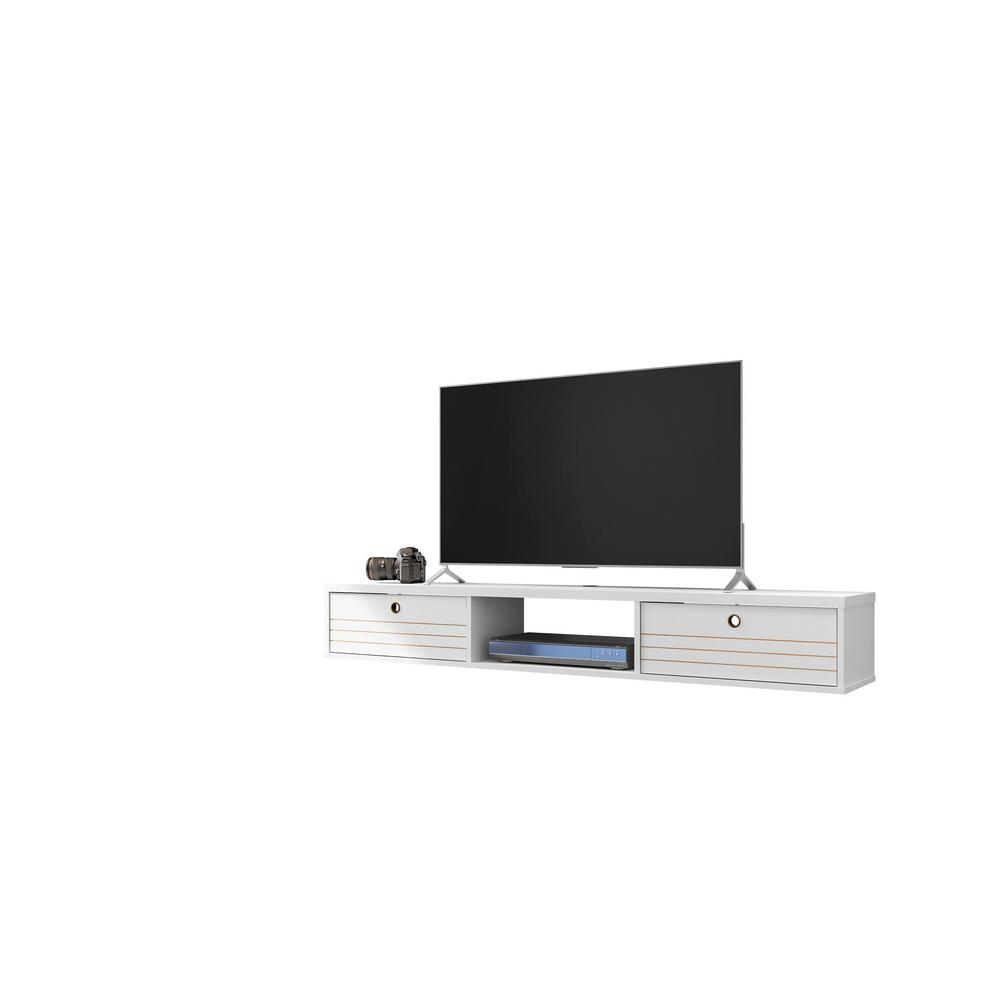 Luxor Liberty 63 In White Particle Board Floating Entertainment Center Fits Tvs Up To 60 In With Storage Doors 220hd5 The Home Depot