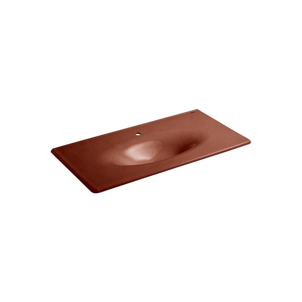 KOHLER Iron/Impressions 43 in. Topmount Sink Basin in Ember-DISCONTINUED