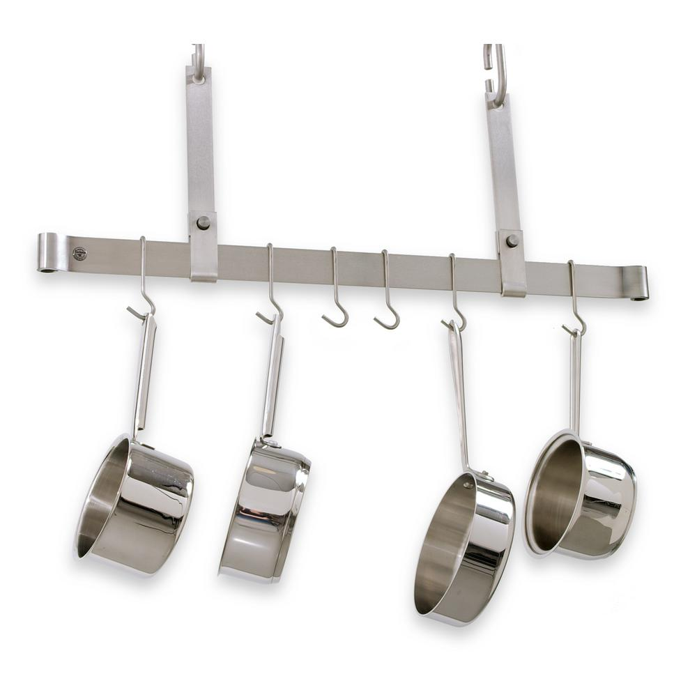 Handcrafted 48 in. Adjustable Ceiling Bar with 12 Hooks Stainless Steel