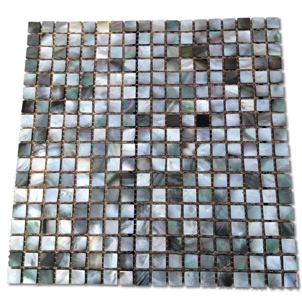 Mother Of Pearl Deep Ocean Gray 12 In X 2 Mm Square Shell Gl Mosaic Tile