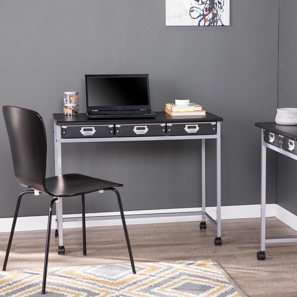 Anvela Black and Matte Silver Industrial 3-Drawer Work Table