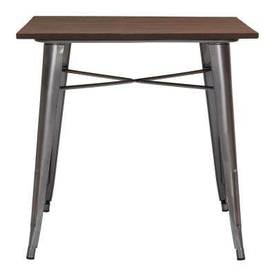 Finwick Gunmetal Gray Metal Square Dining Table for 4 (31.5 in. L x 29.13 in. H)