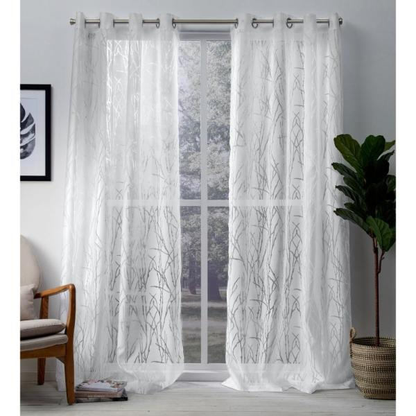 Edinburgh 52 in. W x 96 in. L Sheer Grommet Top Curtain Panel in Winter White (2 Panels)