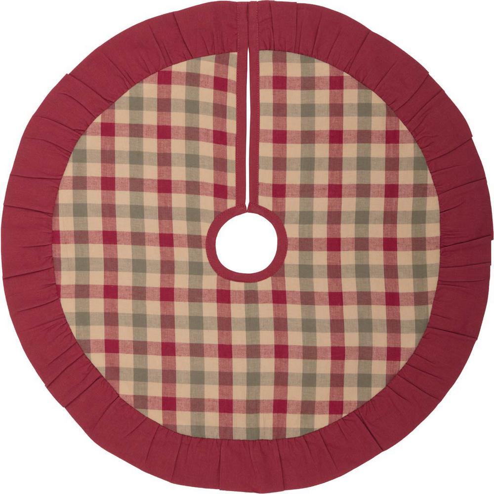 21 in. Jonathan Plaid Natural Tan Traditional Christmas Decor Tree Skirt