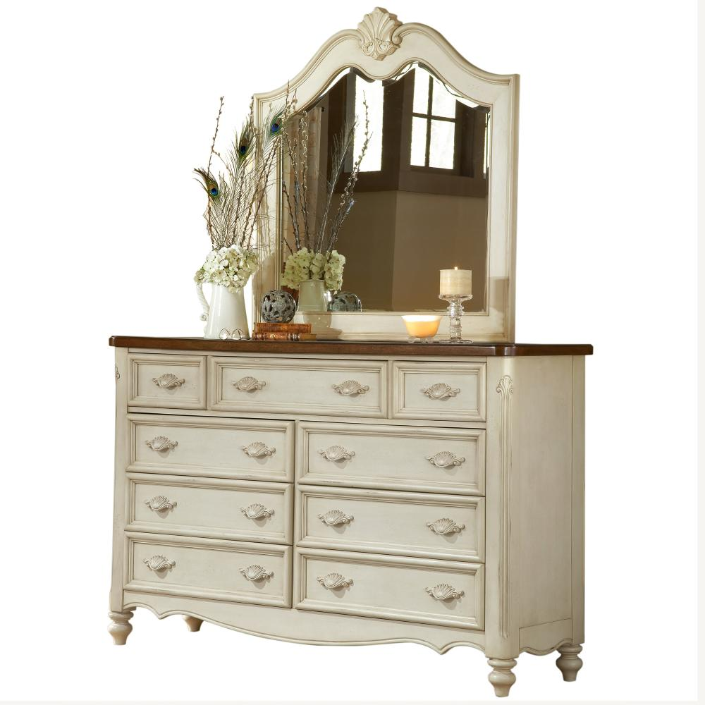 Chateau 9-Drawer Antique White Dresser with Mirror - Dressers & Chests - Bedroom Furniture - The Home Depot