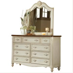 American Woodcrafters Chateau 9-Drawer Antique White Dresser with Mirror by American Woodcrafters