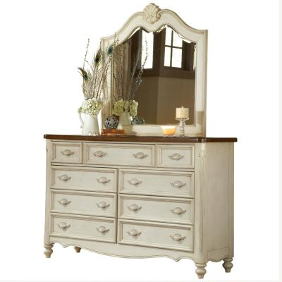 Chateau 9-Drawer Antique White Dresser with Mirror