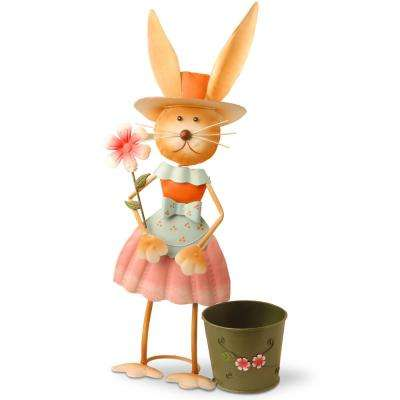 Metal Girl Rabbit with Pot