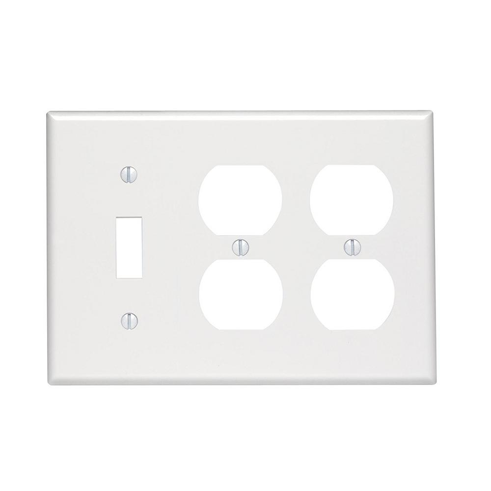 Leviton White 3 Gang 1 Toggle 2 Duplex Wall Plate 1 Pack 88047 The Home Depot