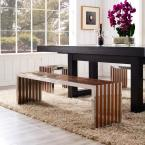 MODWAY Gridiron Large Wood Inlay Bench in Walnut