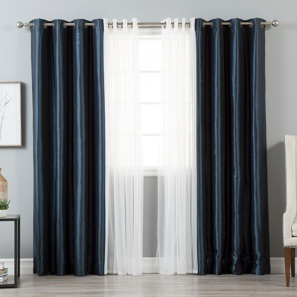 Best Home Fashion 84 in. L uMIXm Tulle and Navy Faux Silk...